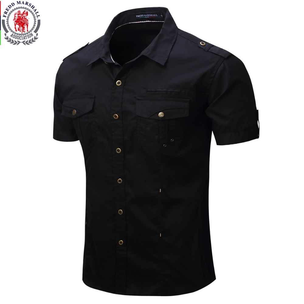 2019 New Arrive Mens Cargo Shirt Men Casual Shirt Solid Short Sleeve Shirts Multi Pocket Work Shirt Plus Size 100% Cotton