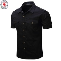 Men S Casual Solid Short Sleeve Cargo Shirts Outdoor Fishing And Hiking Tops With Washing