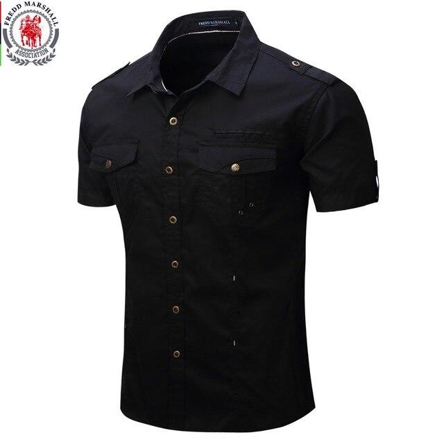 2019 neue Kommen Mens Cargo Hemd Männer Casual Hemd Solide Kurzarm Shirts Multi Tasche Arbeit Hemd Plus Größe 100% baumwolle