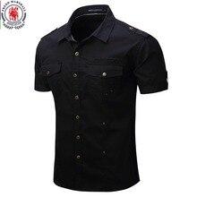 2019 nowy przyjeżdża mężczyzna Cargo koszula mężczyzna koszula na co dzień stałe koszule z krótkim rękawem kilka kieszeni koszula do pracy Plus rozmiar 100% bawełna