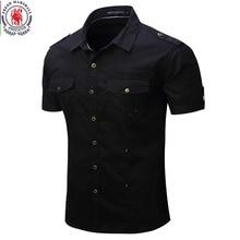 Fredd Marshall 2017 novo chegar Mens camisa de carga homens casual camisa de cor sólida camisas de manga curta camisa de trabalho com lavado padrão e.u.a. tamanho 100% algodão