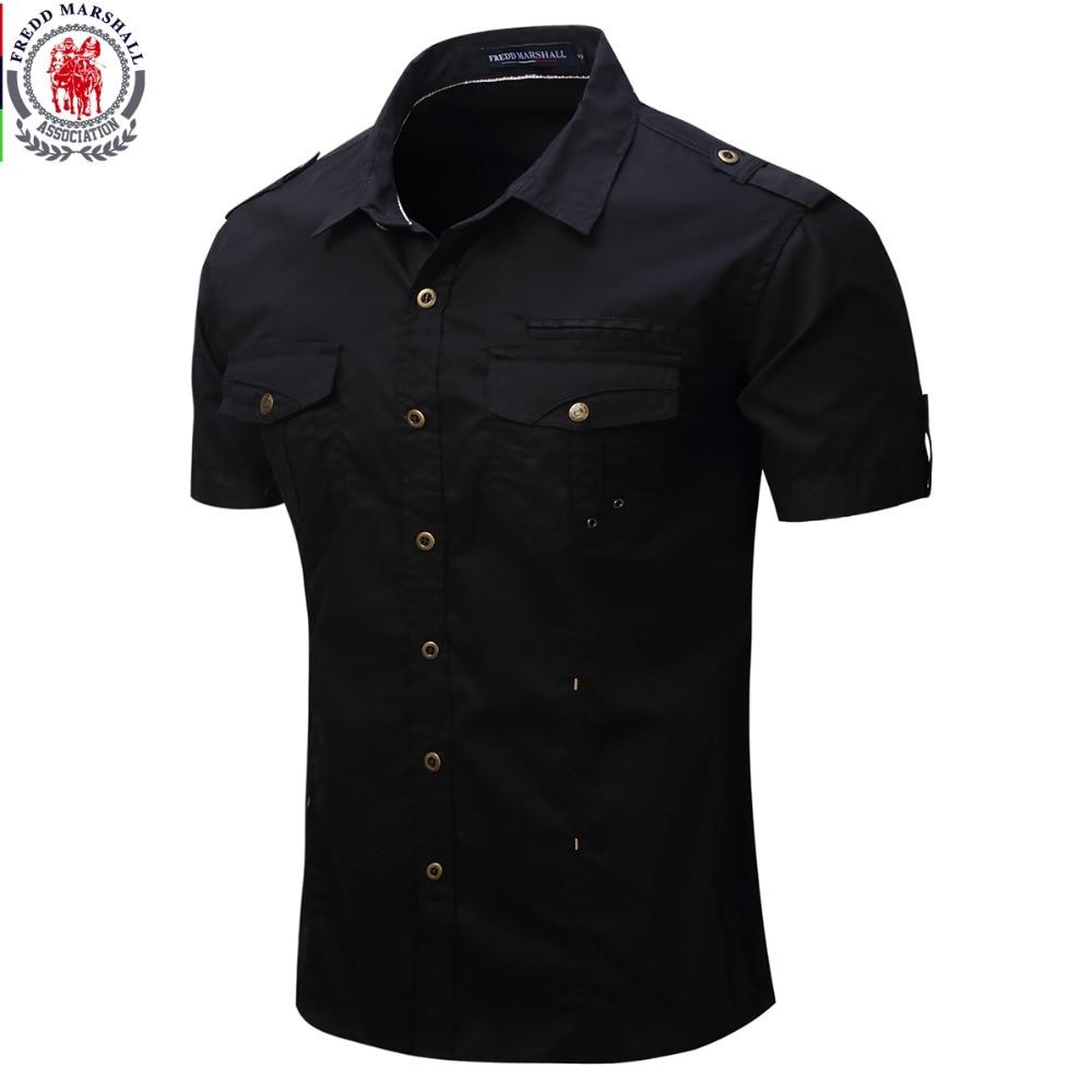 Fredd Marshall 2017 новая прицельная рубашка мужчины Грузовая рубашка, обычная рубашка с коротким рукавом пуговицы рубашки США размер 100% хлопок