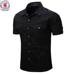 2019 New Arrive Mens Cargo Shirt Men Casual Shirt Solid Short Sleeve Shirts Multi Pocket Work Shirt Plus Size 100% Cotton(China)