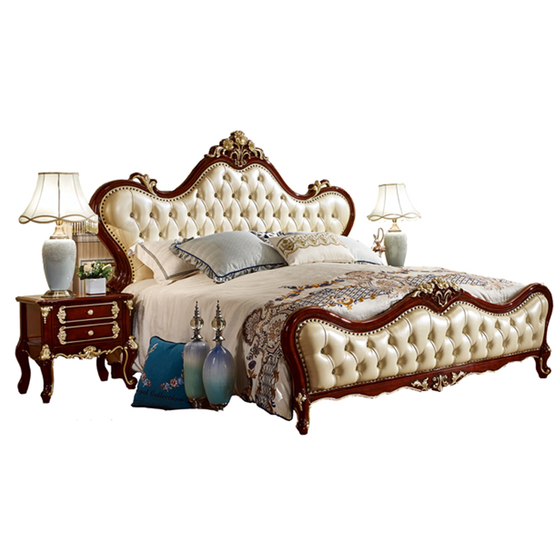European Leather Wooden Bed Designs King Size Bed Models - 6035