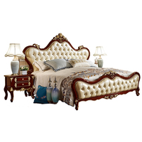 European leather wooden bed designs king size bed models 6035
