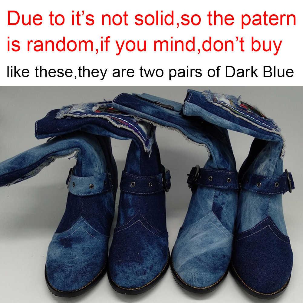 BONJOMARISA Kadın Kot Orta buzağı Çizmeler Kemer Kayışı Toka Ayakkabı Kadın Tıknaz Topuk Yuvarlak Ayak Çizmeler Üzerinde Kayma