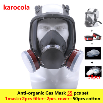 55in1 Chemical Gas Mask 6800 Full Face Facepiece Respirator Mask For Painting Spraying Anti-dust Woodworking Pollution Treatment
