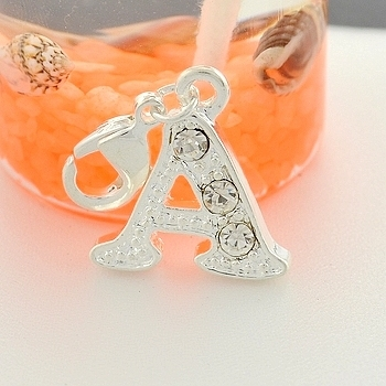 free shipping simple and stylish crystal alphabet a b c d e f
