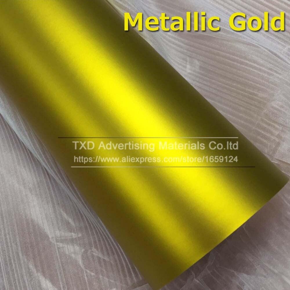 1,52*5 м/10 м/15 м/20 м в рулоне Премиум атласный металлический матовый хром Красный Синий Зеленый Виниловая пленка без пузырей - Название цвета: gold