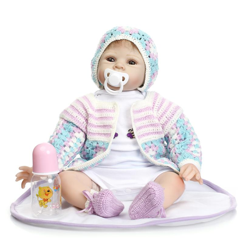 55cm New Slicone Reborn Baby Doll Toy for Girls Play hHouse Bedtime Toys for Kids Newborn Babies Girl Dolls in Woven Clothes pp bedtime for baby dwf acct