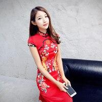 Poprawiła cheongsam ożenił długo projekt chiński styl czerwony szczupła suknia wieczór suknia jednoczęściowa suknia cheongsam