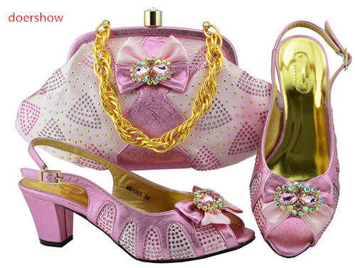 doershow pink Color African Woman Shoes And Bag Set Decorated With Rhinestone Nigerian Party Shoes And Bag Set SFG1-10doershow pink Color African Woman Shoes And Bag Set Decorated With Rhinestone Nigerian Party Shoes And Bag Set SFG1-10