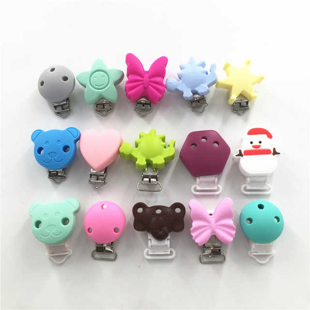 Chenkai 10PCS BPA Free Round Bear Star Silicone Baby Pacifier Dummy Teether Chain Holder Soother Nursing Toy Accessories Clips