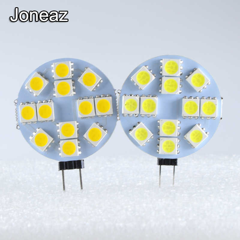 Joneaz 1x G4 led lamp Dc 12v 3W Round shape SMD 5050 12 leds bulb lamps Decorative lights Indoor light Replace 12 v Halogen Lamp