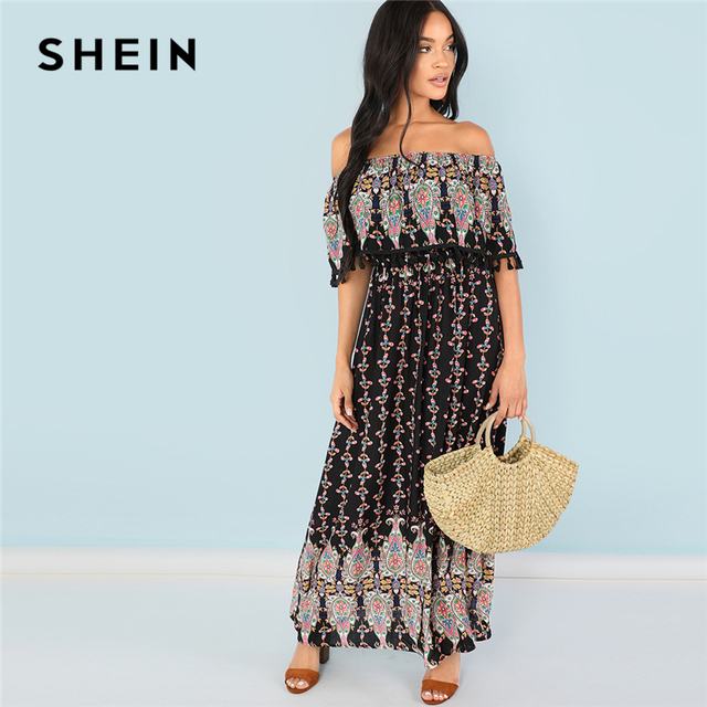 95dcba4961 SHEIN Multicolor Vacation Boho Bohemian Beach Tassel Embellished Flounce  Foldover Front Tribal Summer Dress Women Maxi