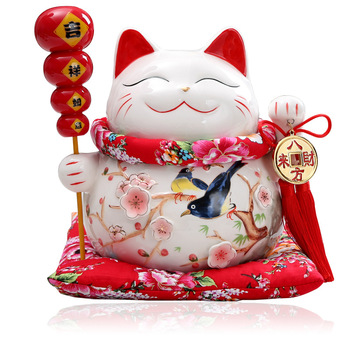 10 Inch Ceramic Maneki Neko Ornament Lucky Cat Money Box Fortune Cat Figurine Chinese Statue Piggy Bank With Bells R1916