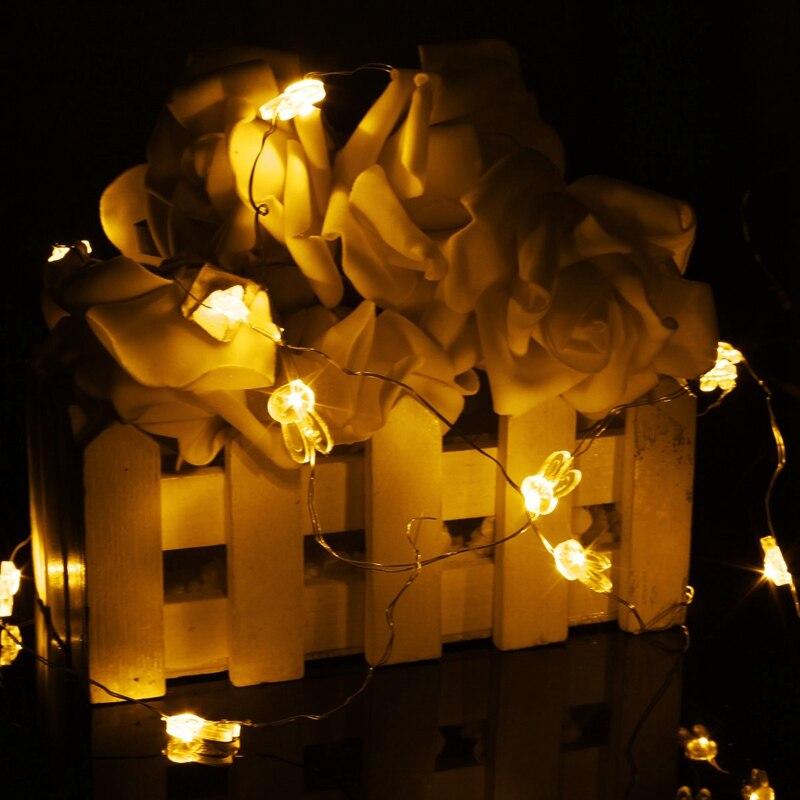 ᗗMising 2 M 20 Tiras de luces de LED luz batería operado conejo en ...