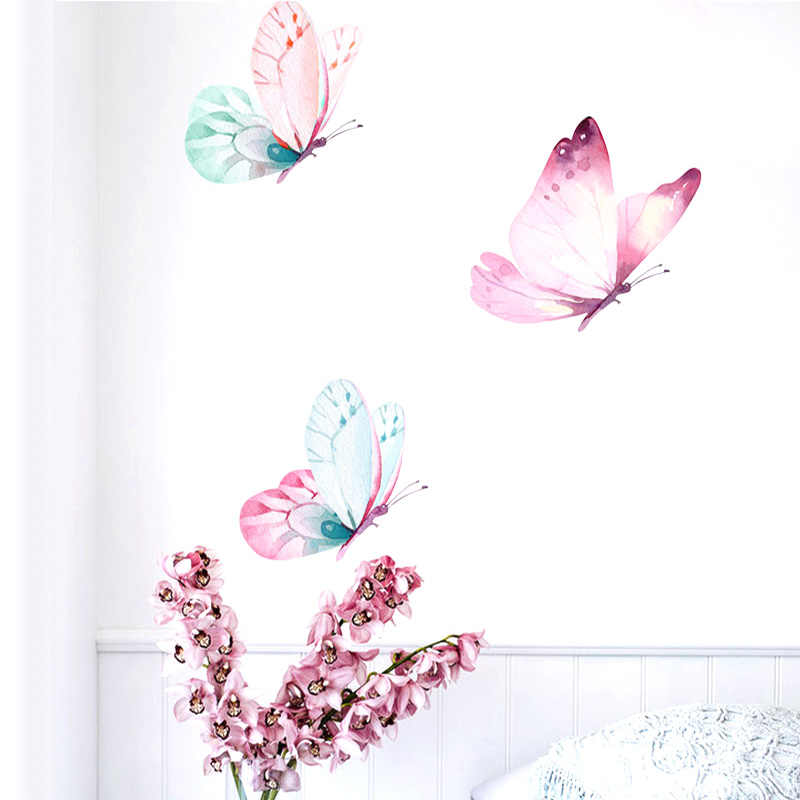 Butterfly Decoration Watercolour Painting Wall Art Wall Stickers For Kids Rooms Diy Home Decoration Accessories Nordic Bedroom