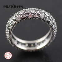 FirstQueen 925 Sterling Silver Brand Stackable Ring, Clear CZ Rings For Woman Fine Silver 925 Jewelry
