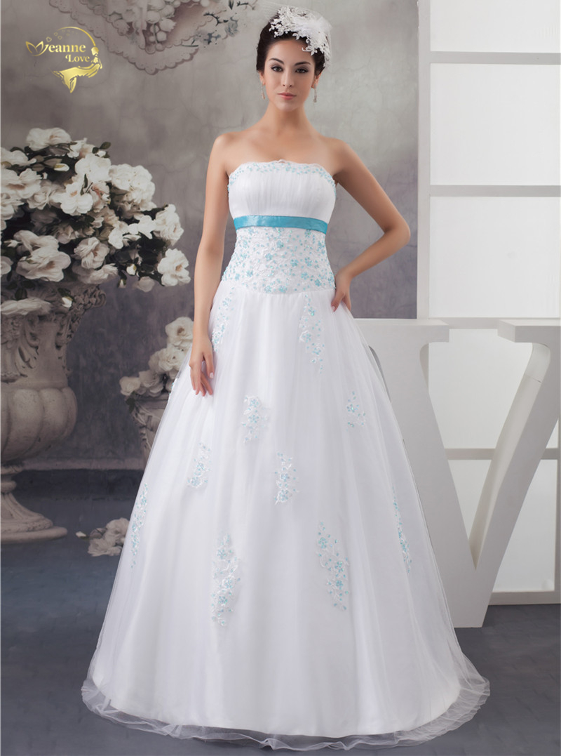 2019 New Arrival White Wedding Dresses With Blue Applique Tulle Beading Vestidos De Novia With Bolero