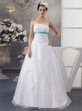 2016 Rochii de mireasa albastru de sosire albastra cu aplicatie albastra Tul de bere Vestidos de Novia cu rochii de mireasa Bolero 399391UJL