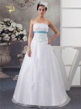 2016 New arrival White Wedding Dresses With Blue Applique Tulle Beading Vestidos De Novia Bolero Bridal Gowns 399391UJL