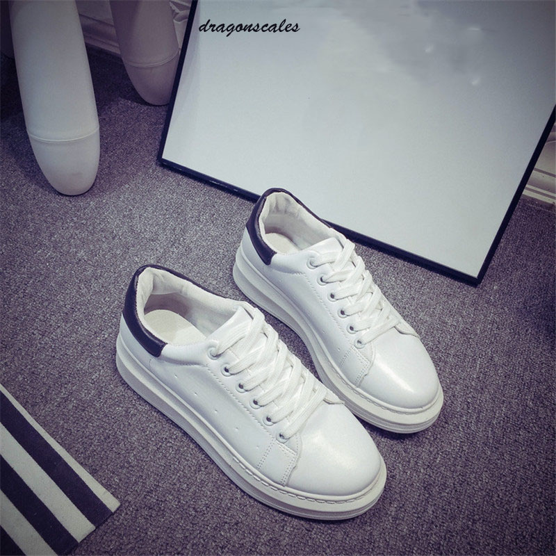 2017 Creepers Hot Pu Basic Lace-up Round Toe Rubber Sale Fashion Shoes Concise Low Top Casual Flat Student Up Walking 35-