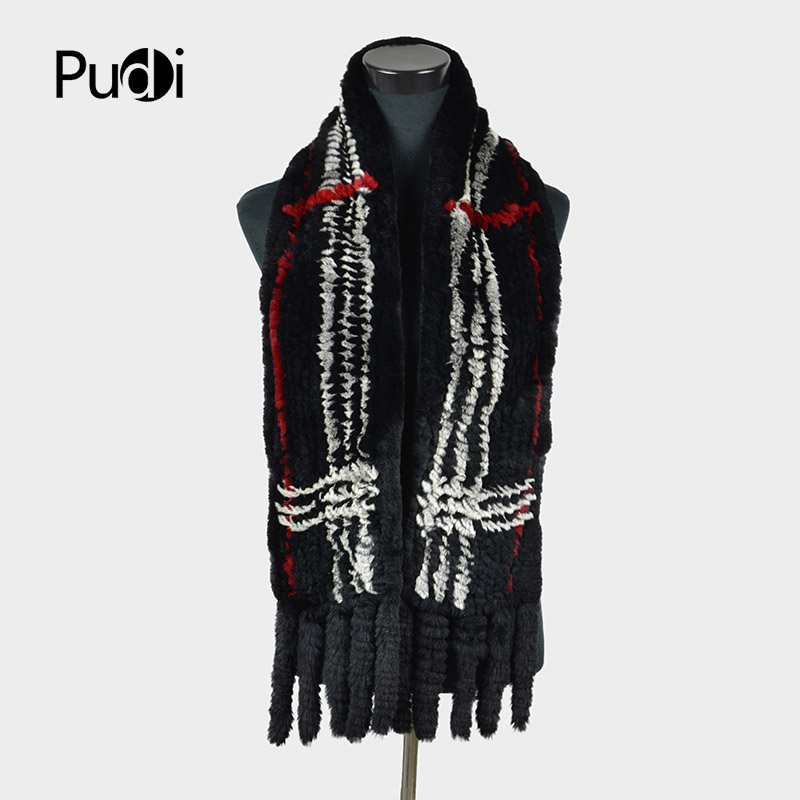 Pudi SF727 women knitted Rex Rabbit fur   scarf   brand new genuine fox fur long   scarves     wraps