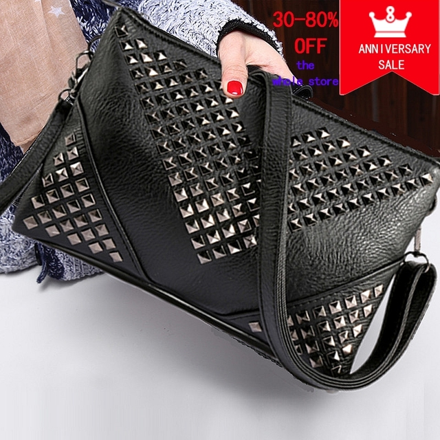 7ff140fd74 black rivet women leather handbag female day clutch purses and handbags  evening clutch bag stud envelope clutch women clutch bag-in Clutches from  Luggage ...