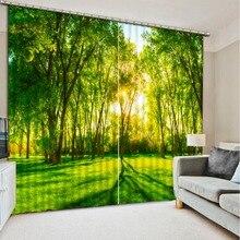 Красивые фото Модные индивидуальные 3D шторы Солнечный свет зеленый лес кровать Гостиная Офис Отель шторы для спальни