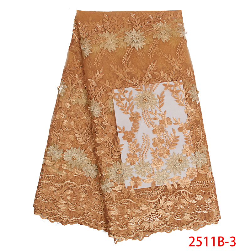 2019 Latest African Lace Fabric High Quality Tulle French Nigerian Laces Fabrics Embroidered Lace With Beads Stones KS2511B-3