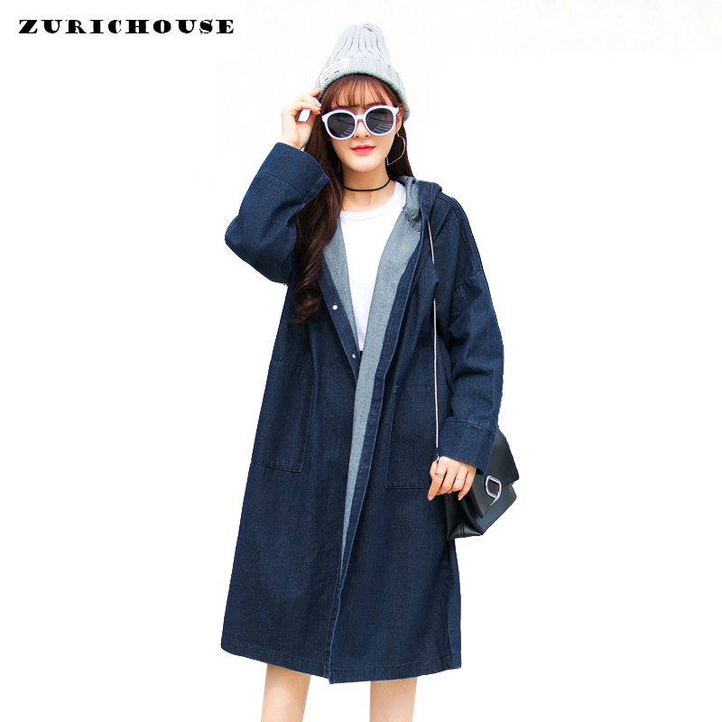 Casual Oversized Spring Coat Women 2019 New Knee-length Hooded Long   Trench   Coat Blue Black Denim Overcoat Abrigo Mujer