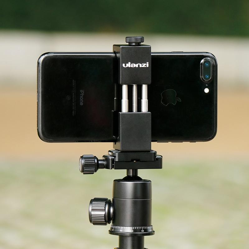 Ulanzi IRON MAN Smartphone trípode de aluminio Universal adaptador de trípode teléfono soporte para iPhone X 8 7 más samsung