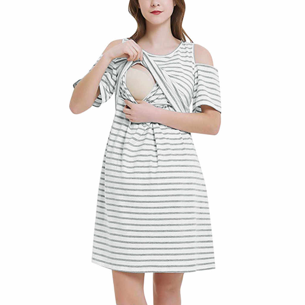 Summer Women Maternity Dress Short Sleeve Nursing Dress Striped Off Shoulder Breastfeeding Pregnancy Dress Baby Shower #35