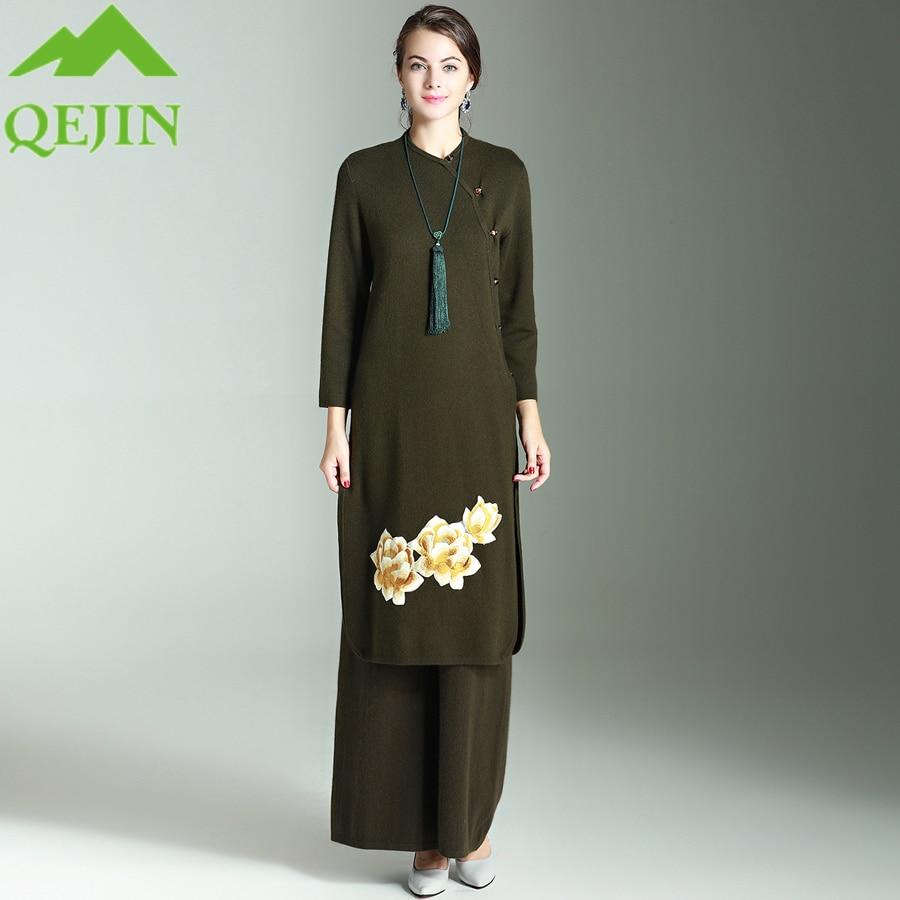 Women's set dresses wool cashmere winter suits woolen pants loose style Embroidery elegant dress long pants plus sizes 3 colors