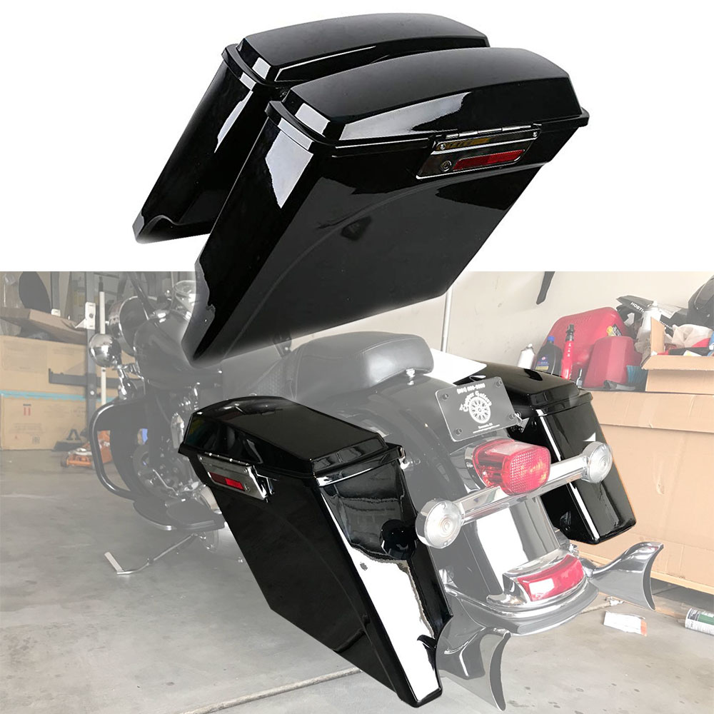 For Harley Touring Road King Electra Street Glide FLH FLT Motorcycle Saddle Bag 93-13 5 Stretched Extended Hard Saddlebag Trunk 4 stretched hard saddlebag extension fit for harley touring models 94 13 12 road glide road king ultra street glide electra