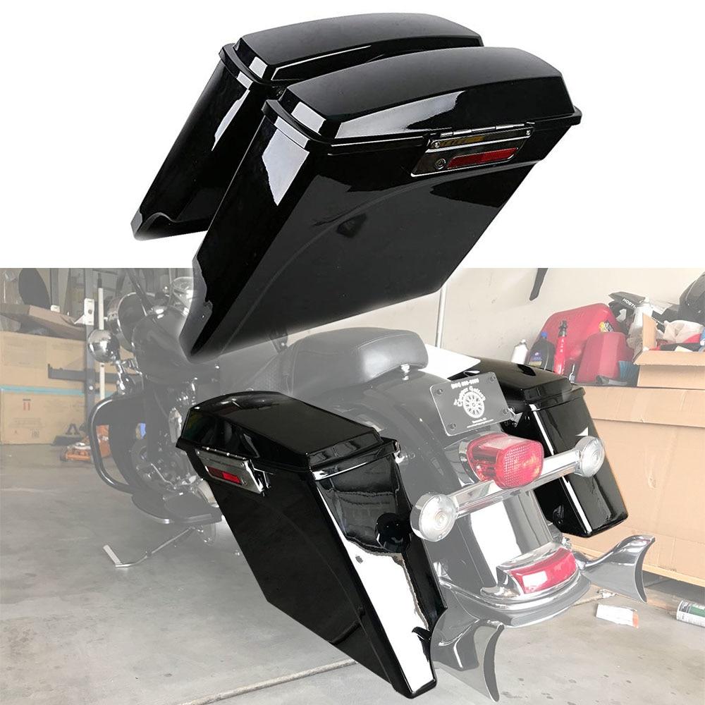For Harley Touring Road King Electra Street Glide FLH FLT Motorcycle Saddle Bag 93-13 5 Stretched Extended Hard Saddlebag Trunk