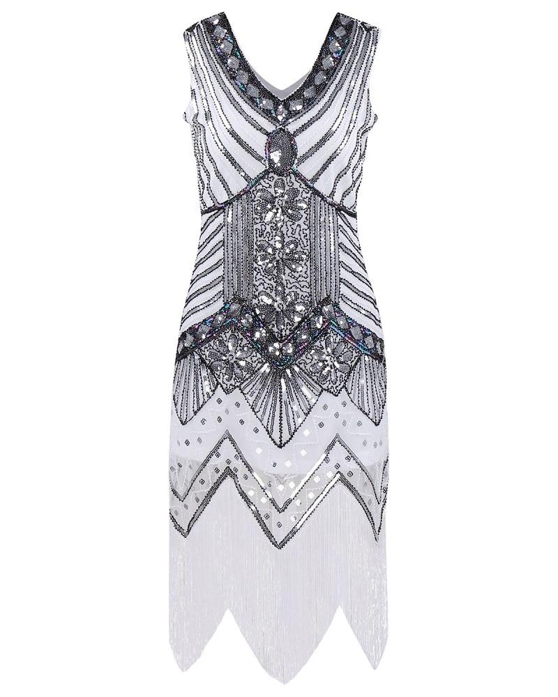 À Embelli gold rose Gastby Selegere white Black Robe Nouveau Sequin 1920 Aileron Femmes Franges Pcs lot S 50 Art Pink TxwqCvHP