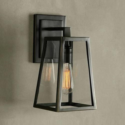 ФОТО Retro Iron Bedroom Bedside Wall Lamp Black E27 Edison Bulb Sconce Light Fixture