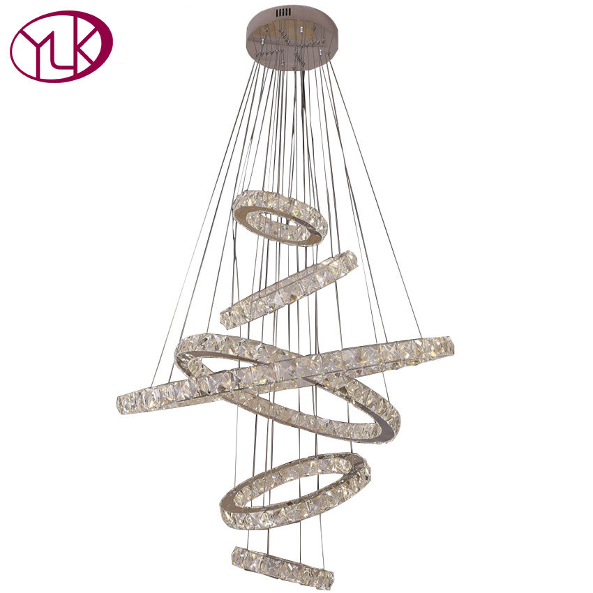 Luxury LED Chandeliers Lighting 6 Rings Home Decor Crystal Lights Long Hotel Hall Lustres De Cristal Modern Hanging Crystal Lamp modern classic maria theresa crystal chandelier hanging lighting led lamp cristal glass chandeliers light for home hotel decor