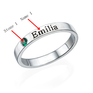 Image 4 - Personalized Stackable Engraved Name Rings with Birthstone Triple Stackable Ring 925 Sterling Silver Custom Jewelry