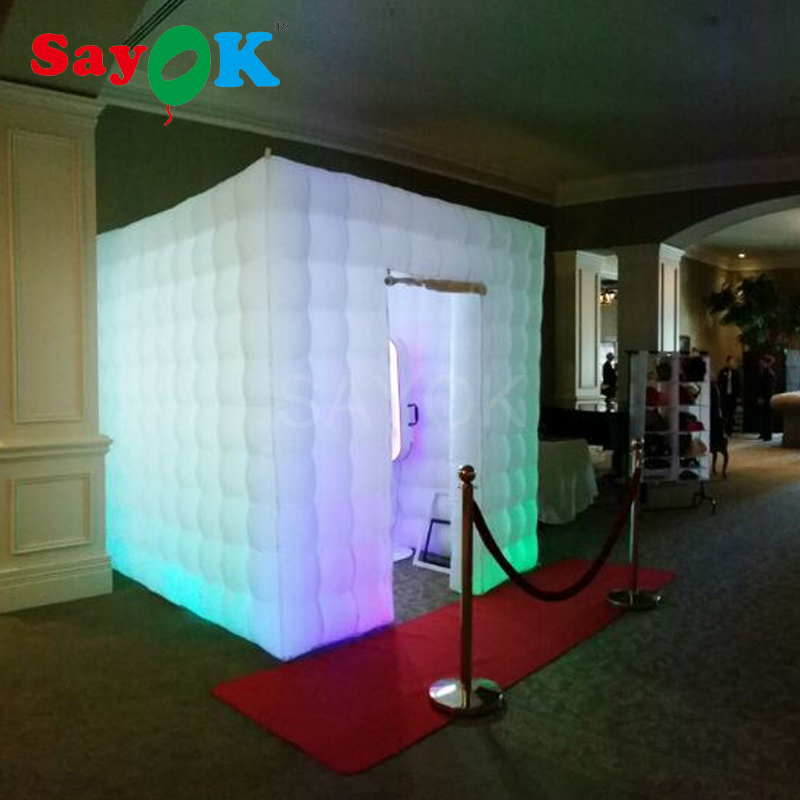 Sayok Portable Photo Booth Inflatable Photo Booth Enclosure with 17 Colors LED Changing  ...