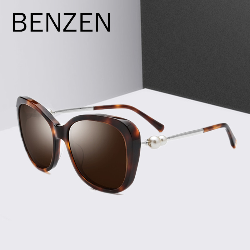 BENZEN Luxury Pearl Sunglasses Women Handmade Acetate Female Polarized Sun Glasses For Driving Ladies Shades  With Case 6583