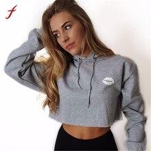 FEITONG Women Hoodie Sweatshirt Casual Crop Top Long Sleeve Tracksuit Jumper Pullover Fashion Letter Short sweatshirt Tops 2017
