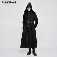 Панк рейв для мужчин стимпанк Черный с капюшоном длинное пальто поддельные из двух частей модные Готический Темный ангел длинн