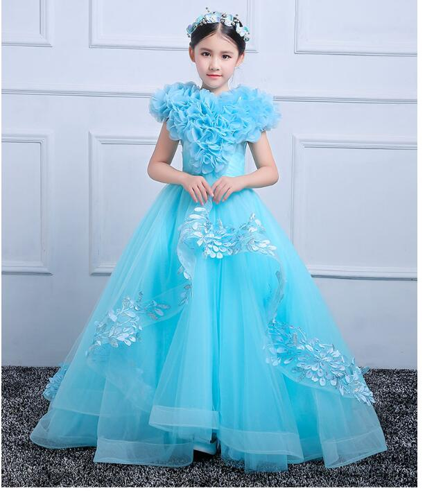 Girls Pageant Formal Dresses 2018 Long Model Catwalk Gauze Prom Ball Gowns Flowers Girls Princess Dress Kids Host Party Dress long criss cross open back formal party dress