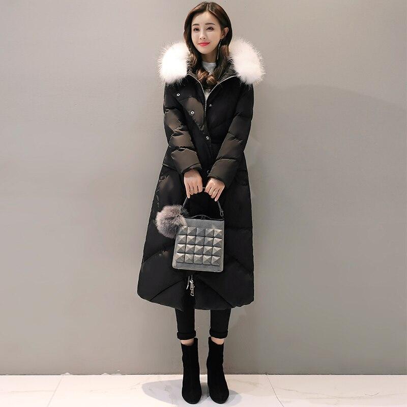 Réel blanc fourrure manteau Long noir veste hiver femmes veste 2017 nouveau chaud cultiver épais Slim décontracté femmes Parka matelassé manteaux