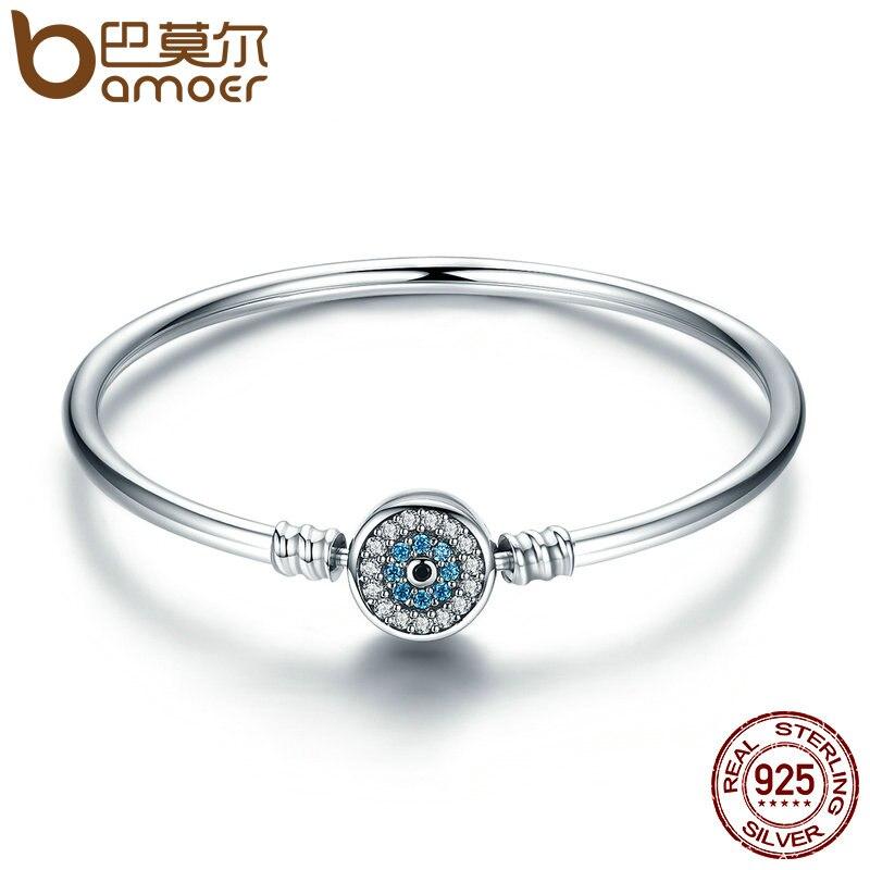 BAMOER Haute Qualité Authentique 925 Sterling Argent Bleu Yeux Clairs CZ Serpent Chaîne Coeur Bracelet & Bracelet De Luxe Bijoux SCB012