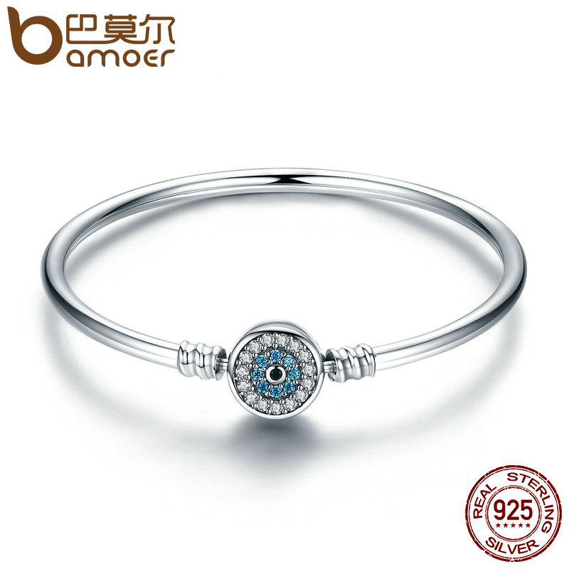 BAMOER High Quality Authentic 925 Sterling Silver Blue Eyes Clear CZ Snake Chain Heart Bangle & Bracelet Luxury Jewelry SCB012 high quality 2017 high quality luxury gold silver color 925 sterling silver metal bezel cz short chain choker tennis cz necklace