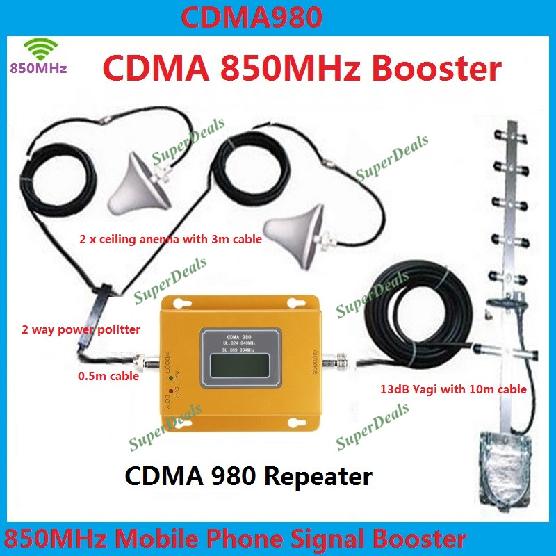 LCD Display 70dB Gain 850mhz LTE Mobile Phone Signal Booster Repeater CDMA 850 Cellular signal Amplifier Repetidor AntennaLCD Display 70dB Gain 850mhz LTE Mobile Phone Signal Booster Repeater CDMA 850 Cellular signal Amplifier Repetidor Antenna